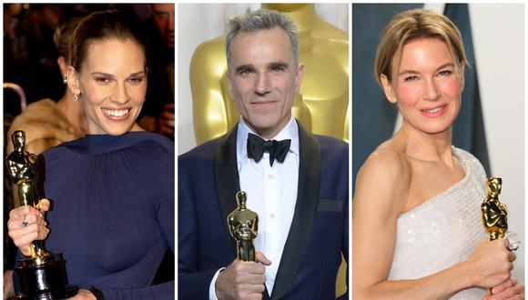 Hilary Swank, Daniel Day-Lewis y Renée Zellweger se encuentran en el grupo de artistas que han ganado más de un Oscar en la últimas dos décadas. (Foto: AFP)