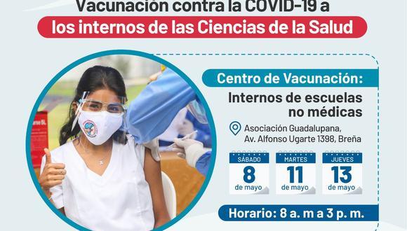Continuando con la inmunización contra el COVID-19 a internos de las carreras de salud, el Minsa publicó la lista de quienes están programados para este sábado 8, martes 11 y el jueves 13 de mayo. (Foto: Minsa)