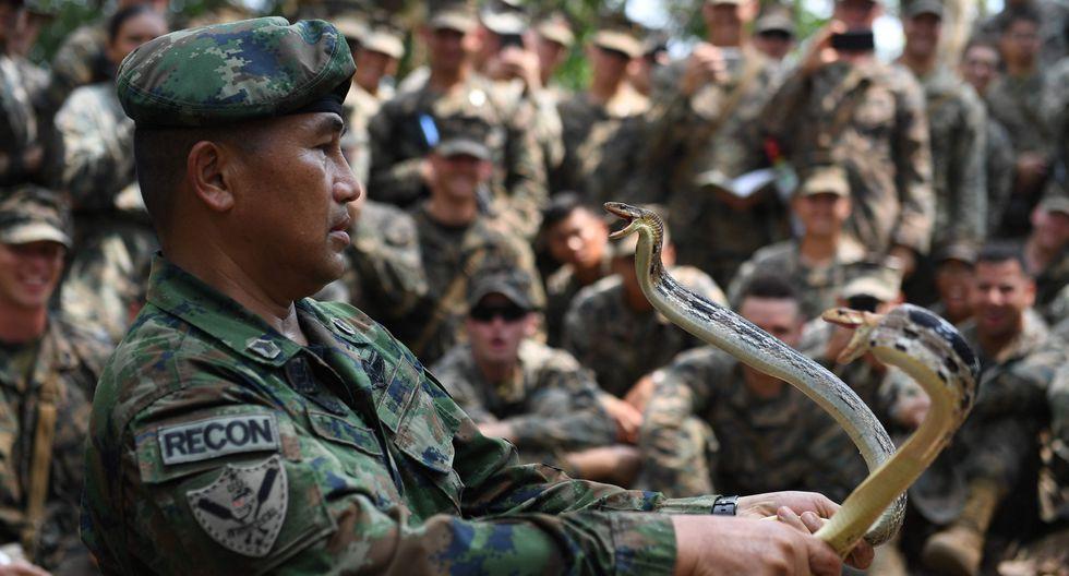 Imágenes del Cobra Gold en Tailandia, el ejercicio militar multinacional más grande de Asia donde Estados Unidos junto a otros 6 países. (AFP)