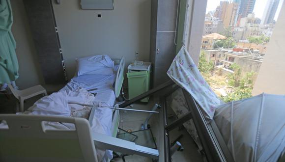 El hospital de Wardieh dañado se muestra a raíz de la explosión en Beirut (Líbano). Imagen del miércoles 5 de agosto de 2020. (STR / AFP).
