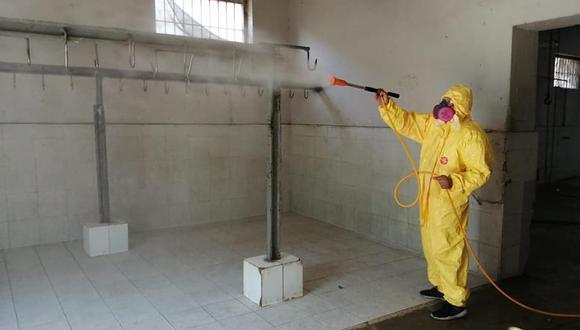 Lambayeque: realizaron jornada de limpieza y desinfección en espacios públicos por el COVID-19 (Foto difusión).