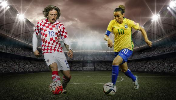 Luka Modric y Marta, elegidos como los mejores futbolistas del 2018. La brasileña gana US$400 mil al año mientras que la estrella croata se embolsa US$12,2 millones anuales. (Ilustración Armando Scargglioni)