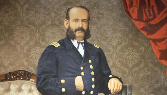 Miguel Grau Seminario nació el 27 de julio de 1834. En la imagen un retrato de Grau por el pintor peruano Bill Caro. (Foto: Ministerio de Defensa del Perú)