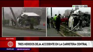 Carretera Central: choque de furgoneta contra poste causa gran congestión vehicular
