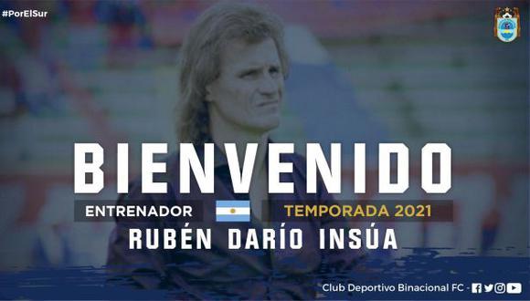 Rubén Darío Insúa fue anunciado como nuevo técnico de Binacional. (Foto: Binacional)