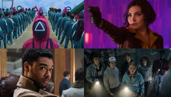 """En sentido horario, las series originales de Netflix """"El juego del calamar"""", """"Cowboy Bebop"""", """"Stranger Things"""" y """"Bridgerton"""". Fotos: Netflix."""