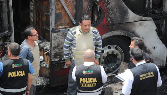 José Quintana Barturén y el copiloto Rodolfo Silva Coronado fueron detenidos luego del incendio de bus en Fiori. (Foto: Giancarlo Ávila)