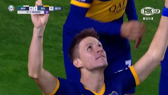 Boca Juniors vs. Banfield: Franco Soldano convirtió el 1-0 antes del minuto de juego | Foto: Captura