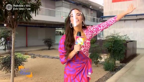 """Natalie Vértiz realizó su primera nota para el programa """"Estás en todas"""". (Foto: Captura América TV)"""