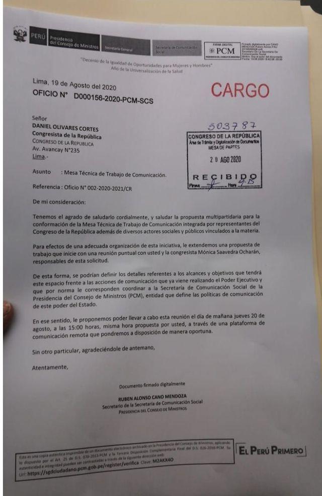 Oficio enviado por Rubén Cano al congresista Daniel Olivares.