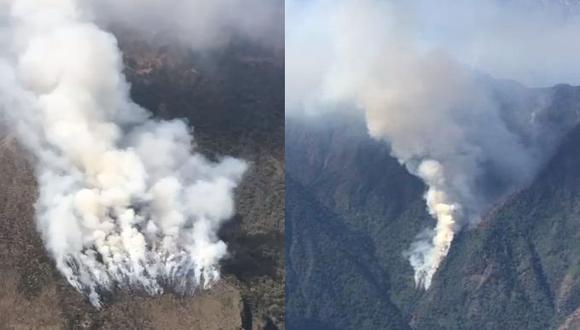 Incendio viene devastando alrededor de 136 hectáreas de bosque de montaña y vegetación del Área de Conservación Regional Choquequirao. (Foto: Indeci Cusco)