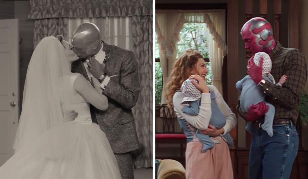 """Hoy llega al catálogo de Disney + la esperada serie <b>""""WandaVision"""" </b> protagonizada por <b>Elizabeth Olsen</b>  y </b>Paul Bettany</b>  basada en el matrimonio de la """"Bruja Escarlata"""" (Wanda) y """"Vision"""", superhéroes que tratarán de llevar una vida normal sin mostrar sus poderes. (Foto: Captura de YouTube)."""
