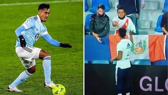 Renato Tapia le dio un obsequio a un hincha que lo alentó con camiseta de Perú. (Foto: EFE/Twitter)