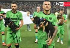 Jugadores de Rumania salen a la cancha con perros para promover la adopción