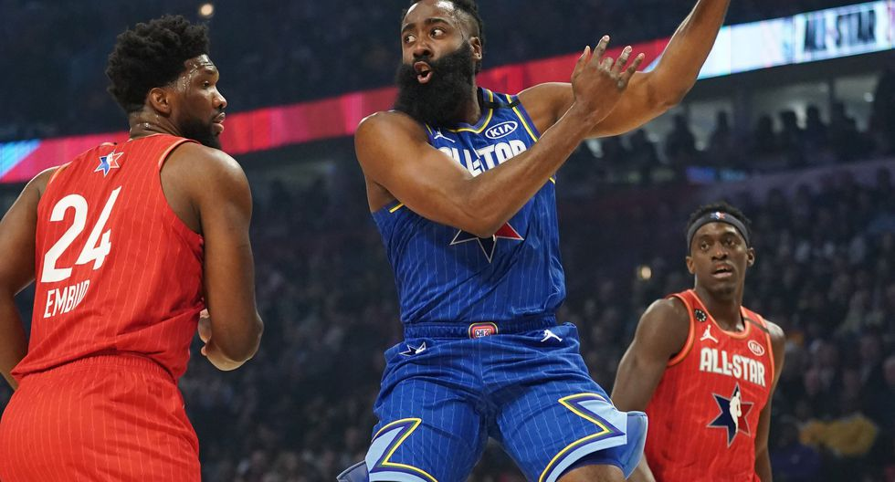 Feb 16, 2020; Chicago, Illinois, USA; Team LeBron guard James Harden of the Houston Rockets passes the ball away from Team Giannis center Joel Embiid of the Philadelphia 76ers and Team Giannis forward Pascal Siakam of the Toronto Raptors in the first quarter during the 2020 NBA All Star Game at United Center. Mandatory Credit: Kyle Terada-USA TODAY Sports