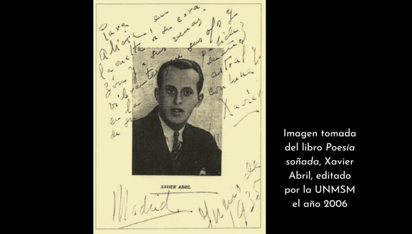 Imagen de Xavier Abril autografiada para su esposa. Esta edición sirvió de base para la edición del libro que reunió la obra del poeta y que editó la UNMSM el año 2006.