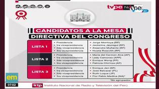 Congreso: Estas son las tres listas de candidatos a la Mesa Directiva 2021-2022
