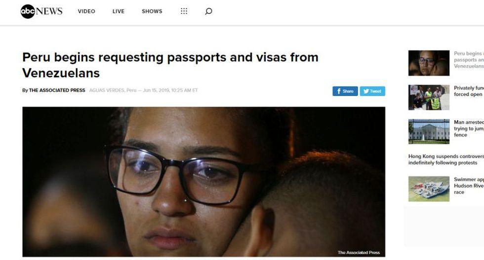 Así informa el medio ABC News sobre la exigencia de visa y pasaporte a los venezolanos en el Perú. (Captura)