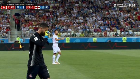 Inglaterra vs. Túnez: arquero Hassen fue cambiado por lesión en duelo por Rusia 2018. (Foto: Captura de video)