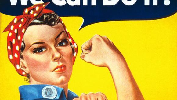 """""""Rosie, la remachadora"""" se convirtió en un símbolo de la fortaleza de la mujer durante la Segunda Guerra Mundial y desde entonces ha sido reinterpretada mundialmente como símbolo del empoderamiento femenino. (Foto: Dominio público)."""