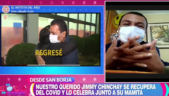 """Jimmy Chinchay reaparece en el programa """"En boca de todos"""" tras superar el coronavirus. (Foto: Captura América TV)"""