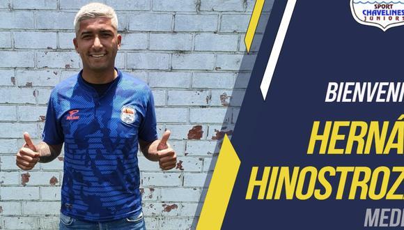 Hernán Hinostroza fue anunciado como nuevo refuerzo de Sport Chavelines