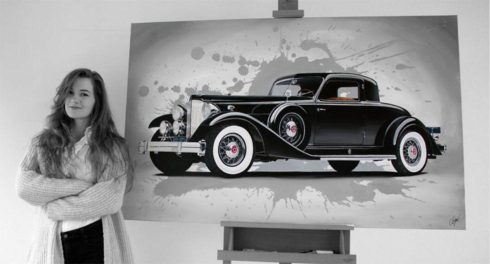 En sus obras plasma autos clásicos y modernos, así como autopartes y hasta pilotos. (Foto: Instagram @automotive_artist)