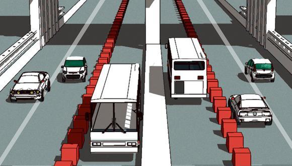 Buses de transporte tradicional, autos y colectivos bloquean el paso fluido de los corredores complementarios.