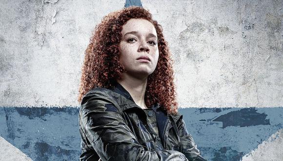 """En """"Falcon y el Soldado del Invierno"""", Erin Kellyman interpreta a Karli Morganthau, usuaria del suero del súper soldado que busca que el mundo sea como antes del 'blip'; esto en cuanto a la política de trato a los inmigrantes y desplazados. Foto: Marvel Studios."""