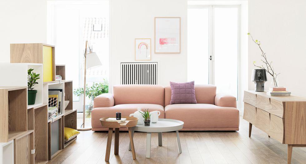 Dale contraste al rosa pálido con un accesorio de tono fuerte, como morado, amarillo o negro. Espacio de Muuto (Dinamarca). (Foto: Muuto)