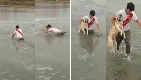 Un joven arriesgó su vida para salvar a un perro atrapado en un lago congelado. (Foto: Con Sello Patagónico en Facebook)