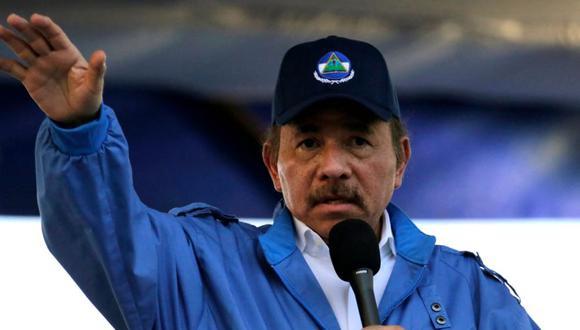 El presidente de Nicaragua, Daniel Ortega, habla durante la conmemoración del 51 aniversario de la campaña guerrillera Pancasana en Managua, el 29 de agosto de 2018. (Foto: AFP / INTI OCON).