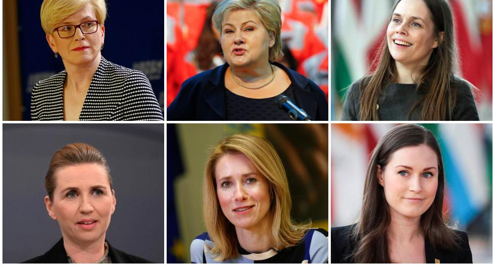 Katrín Jakobsdóttir, Ingrida Šimonytė, Erna Solberg, Mette Frederiksen, Sanna Marin y Kaja Kallas lideran sus países. (Foto: Reuters / AFP)