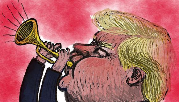 """""""Tiene razón mi madre de 91 años de ponerle el mote de 'Trompeta', haciendo referencia a cuando este instrumento es mal tocado"""". (Ilustración: Víctor Aguilar)"""
