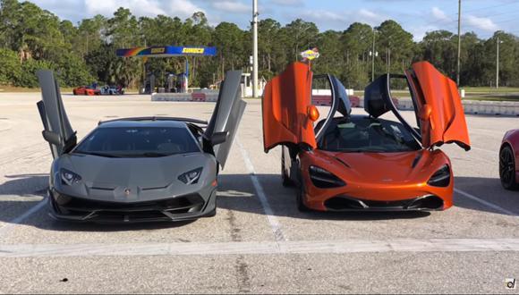 En el papel, el Lamborghini Aventador SVJ cuenta con una potencia superior. Sin embargo, el McLaren tiene los argumentos suficientes para superarlo en un circuito. (Foto. YouTube).