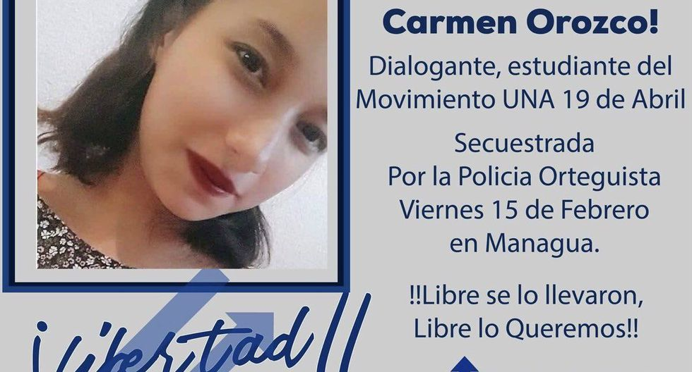 La lideresa estudiantil Justina del Carmen Orozco, de 19 años, capturada por la Policía de Nicaragua ayer, fue liberada la tarde de este domingo. (Twitter)