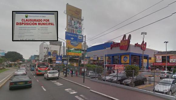 Plaza Vea de Risso fue clausurado por municipalidad de Lince