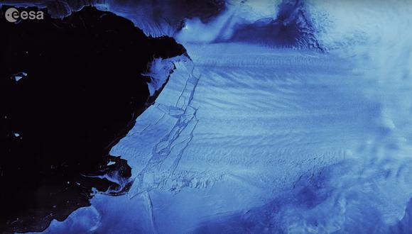 Imagen del desprendimiento del iceberg. (Imagen: ESA)