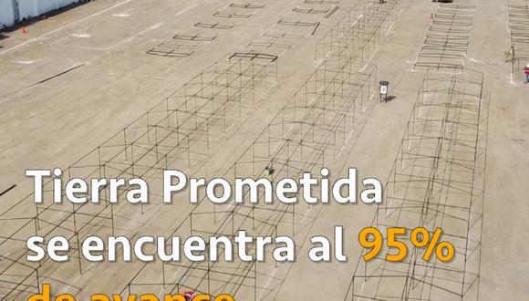 Los trabajos de habilitación del mercado Tierra Prometida presenta un avance del 95%. (Foto: Captura de video de la Municipalidad de Lima)