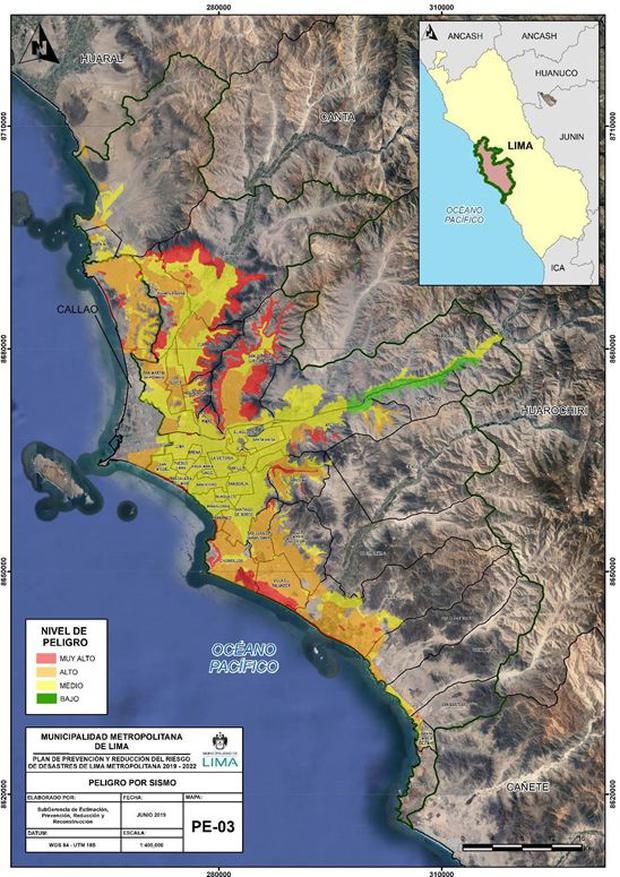 En este mapa de la Municipalidad de Lima se puede observar de manera gráfica y sencilla el nivel de riesgo por sismo en cada distrito de Lima.