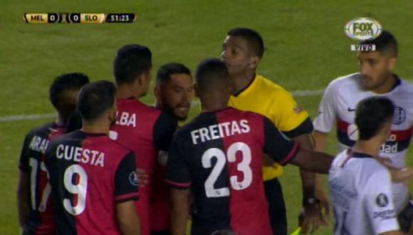 Melgar vs. San Lorenzo: el conato de bronca tras empujón de Joel Sánchez a un rival. (Foto: captura)