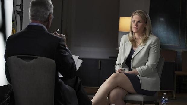 """This September 16, 2021, photo provided by CBS, Facebook Whistleblower Francis Hogen speaks to CBS 'Scott Belle """"60 minutes"""", In an episode that aired Sunday, October 3rd.  (60 minutes via Robert Fortunado / CBS News / AB)."""