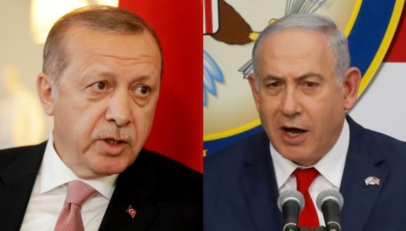 Recp Tayyip Erdogan, residente turco, y Benjamin Netanyahu, primer ministro israelí. (Fotos: AFP)