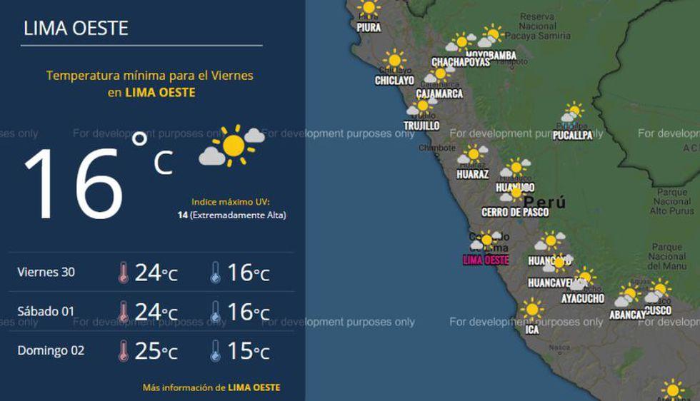 Este es el pronóstico de Senamhi para Lima oeste este viernes 30 de noviembre. (Foto: Senamhi)