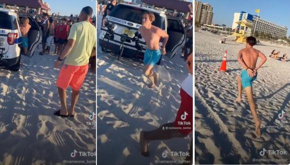 Spring breaker escapó de policías y causó estampida de bañistas en Florida. (Foto: TikTok | nameone_better)