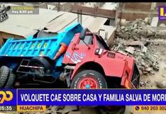 Huachipa: Volquete cae sobre vivienda y familia salva de morir
