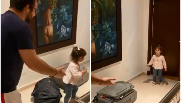 Una niña colombiana se volvió viral luego de que su madre grabara el momento exacto en que la menor se niega a darle un abrazo a su padre que acababa de llegar a casa. (Foto: Twitter/@PaulRincon10)