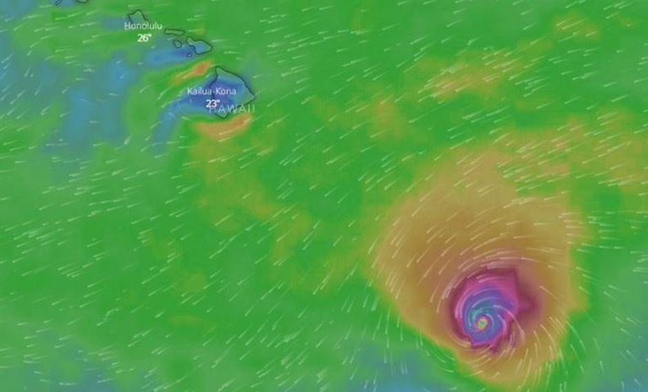 El huracán Lane, de categoría 3, se acerca amenazante aHawái. (Foto: Windy)