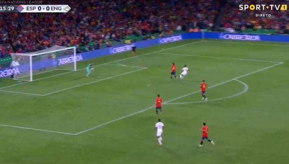 Raheem Sterling se encargó de anotar la primera conquista de Inglaterra sobre España en el Benito Villamarín, por la cuarta jornada de la UEFA Nations League