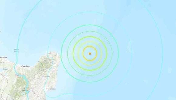 Terremoto de magnitud 7,3 sacude Nueva Zelanda y se emite alerta de tsunami. (USGS).